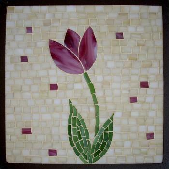 Mosaico Cuadro Flor Rosa   mosaico   Pinterest   Mosaicos, Flor y ...