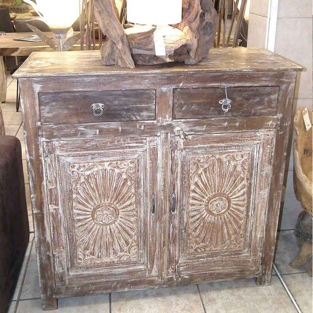 Petit buffet indien vieux volets sculpté bois -    meuble