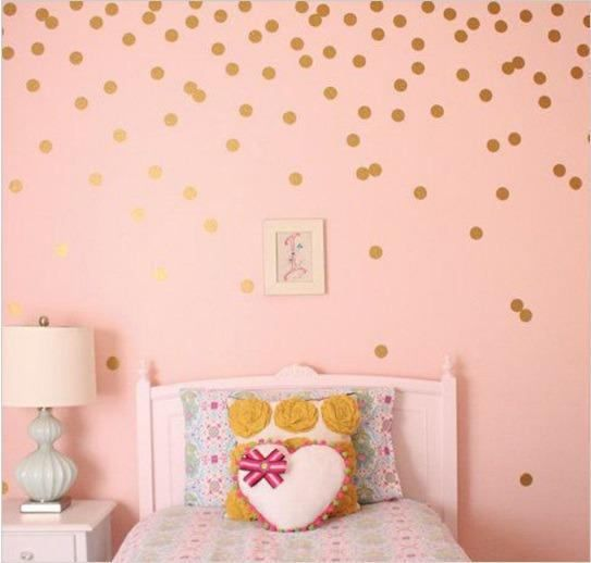26 stickers mural pois or dor chambre b b fille en. Black Bedroom Furniture Sets. Home Design Ideas