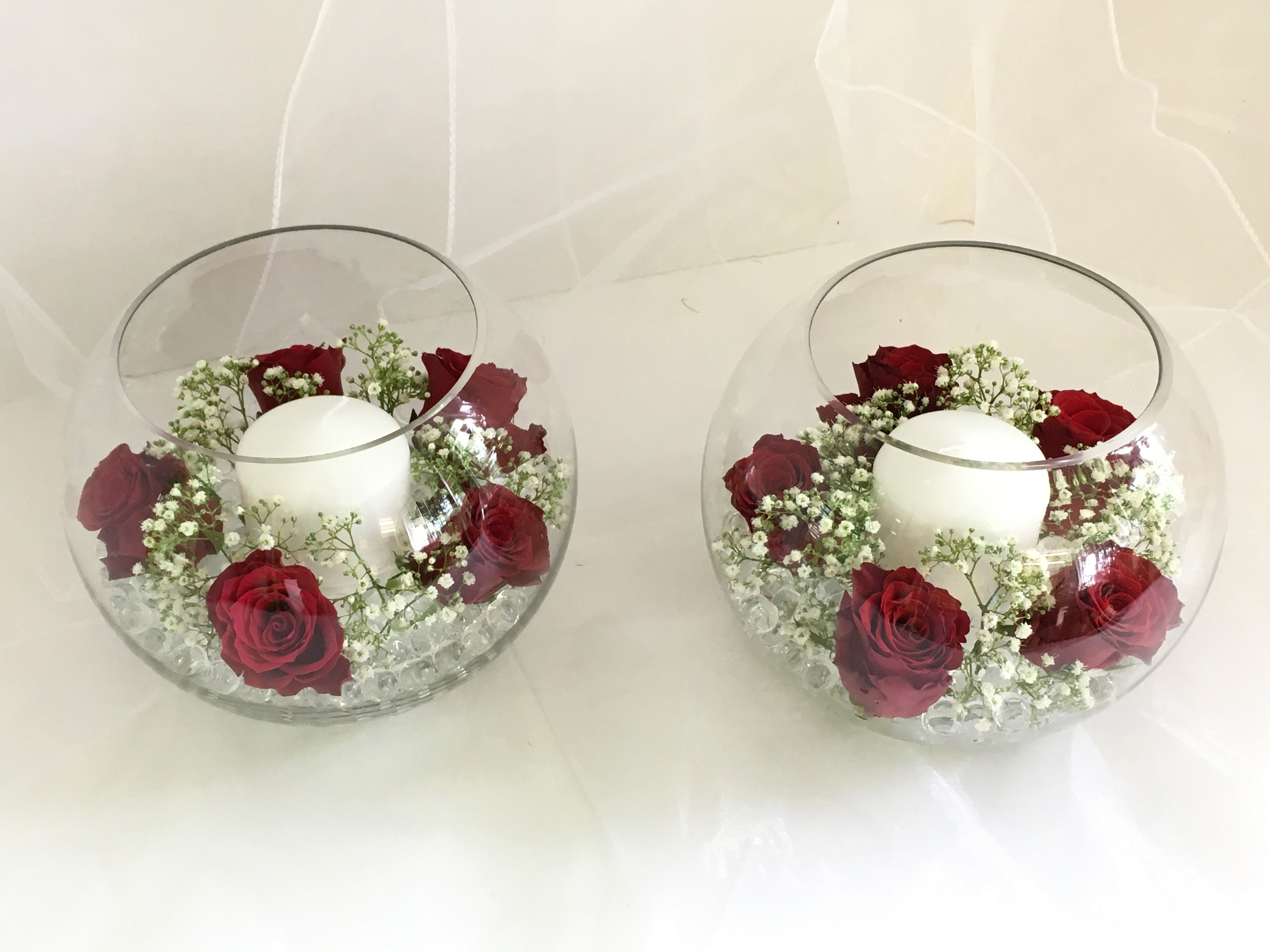 Beautiful Red Rose And White Gypsophila Wedding Top Table Guest Table Fresh Flower Fishbowl Arran Red Bridal Bouquet Red Rose Bridal Bouquet Red Rose Wedding