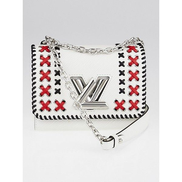 Pre-owned Louis Vuitton White Epi Leather Twist PM Bag ($3,195) ❤ liked on Polyvore featuring bags, handbags, shoulder bags, white handbags, white cross body purse, embroidered purse, white crossbody handbags and pre owned handbags