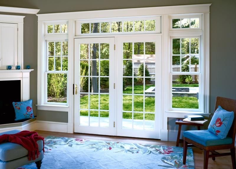 Wood french swinging patio doors low e glass siteline ex for Sliding french doors with sidelights