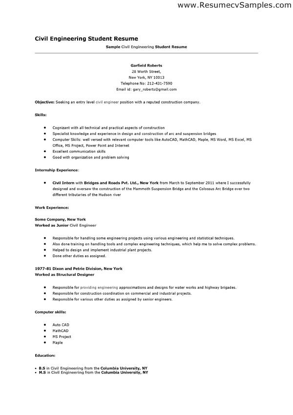Sample Resume Civil Engineer resume civil engineering formats