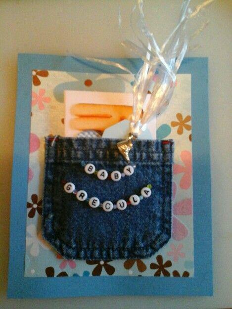 Denim pocket holds gift card for Baby Shower.