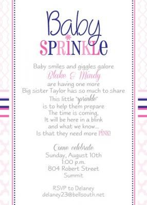 Baby Sprinkle Baby Shower Invitation For A Second Baby Girl. Creative  Wording And Modern Patterns