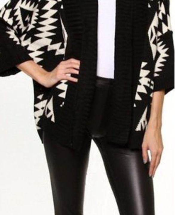 Slick leggings and tribal black and white.
