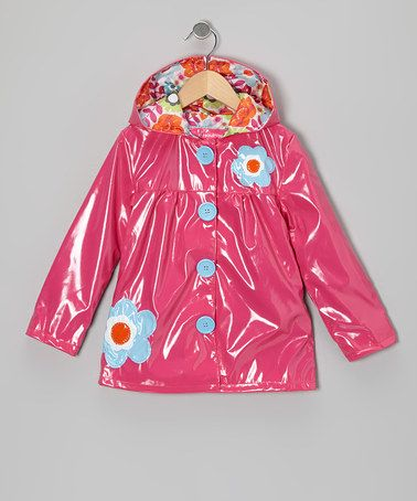 Take a look at this Fuchsia Raindrop Flower Raincoat - Toddler & Girls by Pink Platinum on #zulily today!