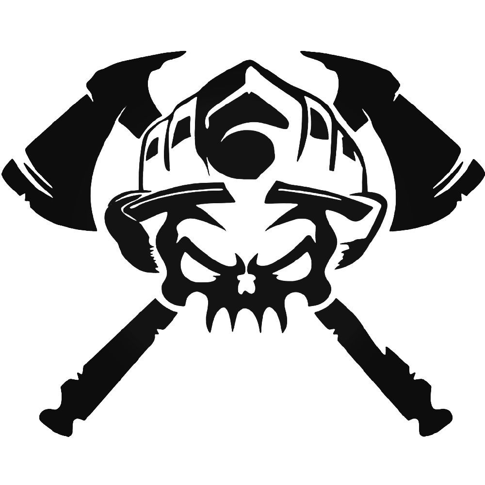 Firefighter Skull Crossbones Vinyl Decal Sticker