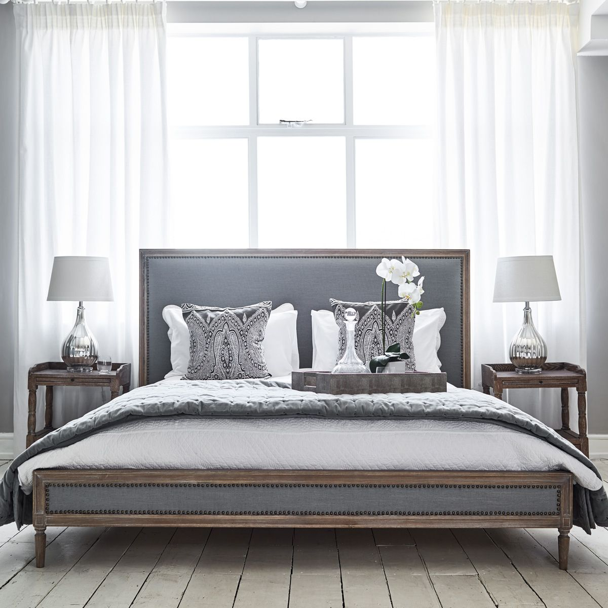 Boston Bed Super King Size Grey Linen King size