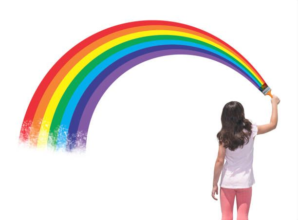 girl painting a rainbow