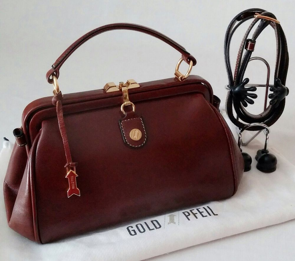 Mint Goldpfeil Oxford Collection Leather Satchel Reddish Brown Made In Germany