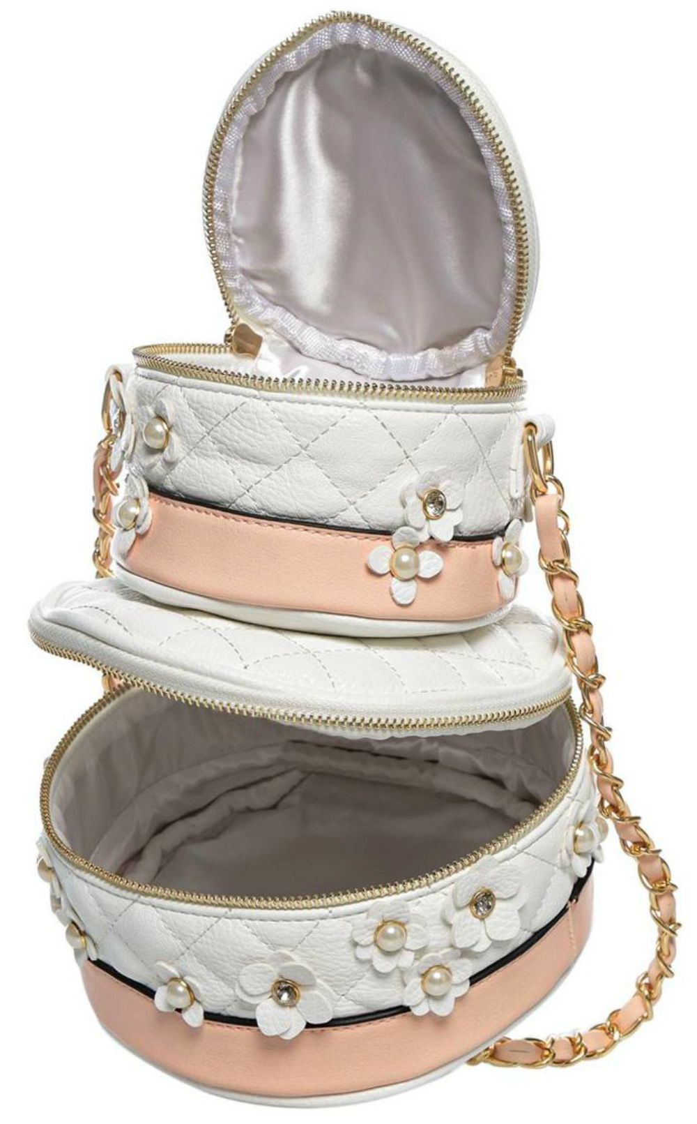 3802202f8c0 Aldo Rochelle Wedding Cake Cross Body Bag features quilted fabric with  floral embellishments