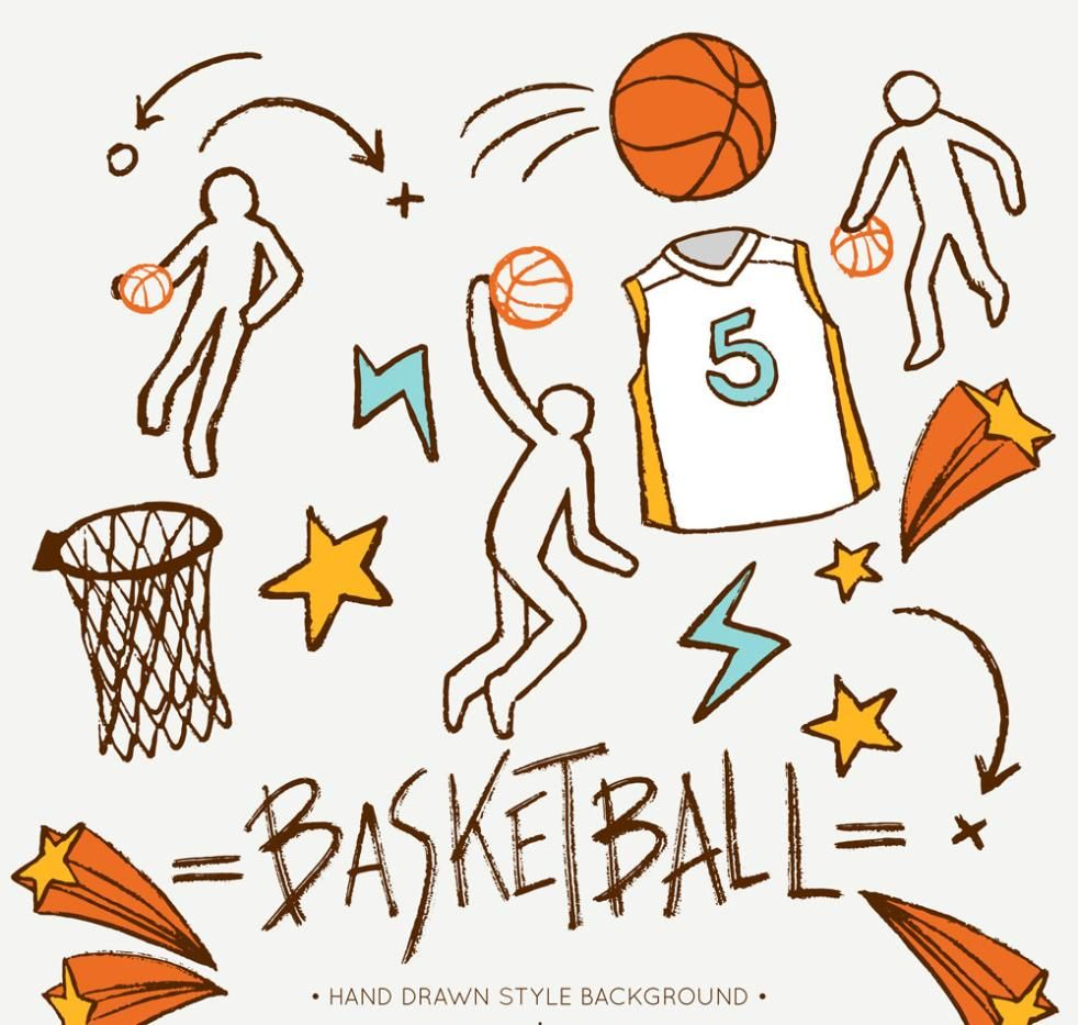 11 Basketball Coloured Drawing Or Pattern Elements Vector How To Draw Hands Vector Free Colorful Drawings