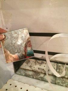 Diy Antique Mirror Backsplash Installed
