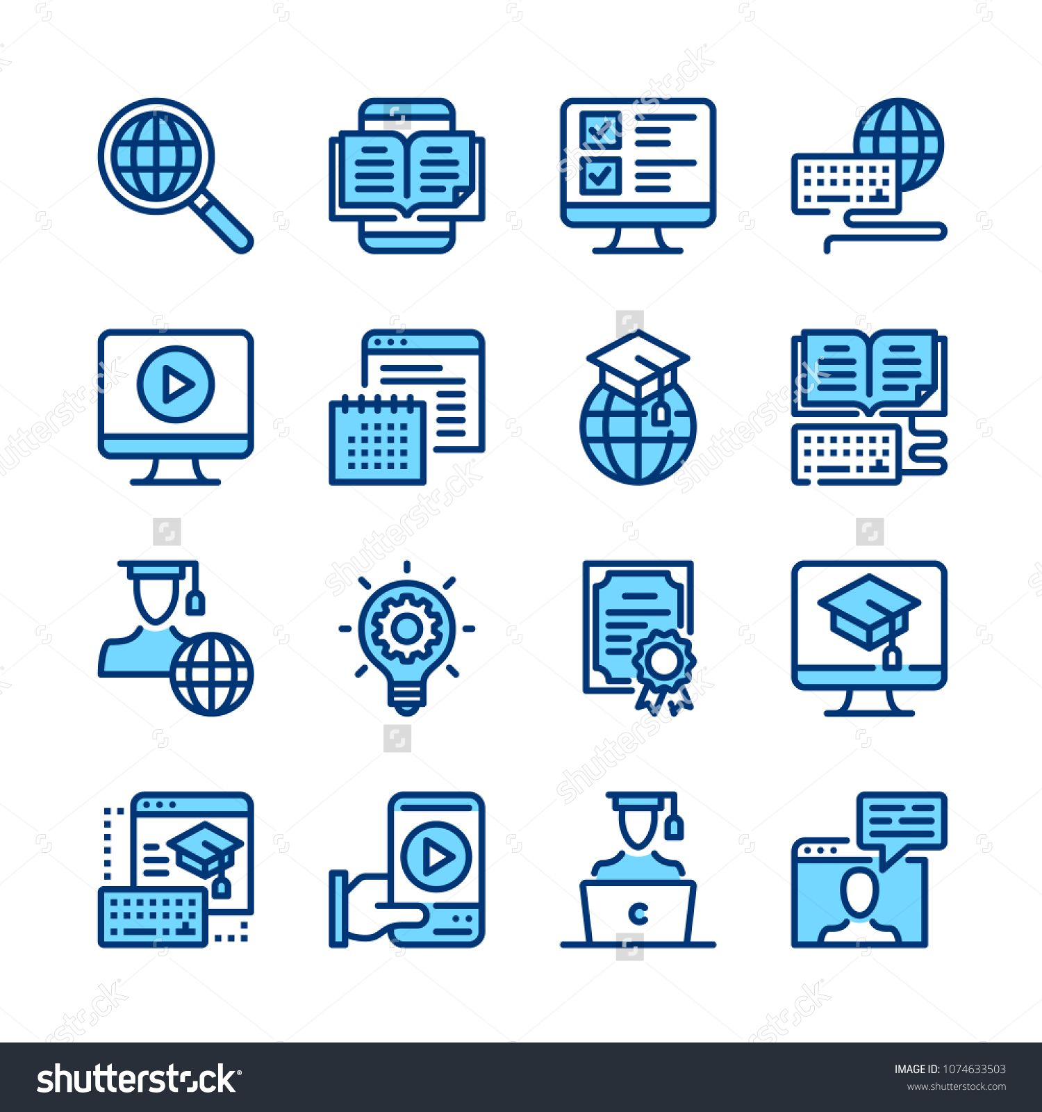 E Learning Line Icons Elearning Online Education Concepts Modern Graphic Elements Simple Symbols Collection Minimal T Elearning Online Education Line Icon
