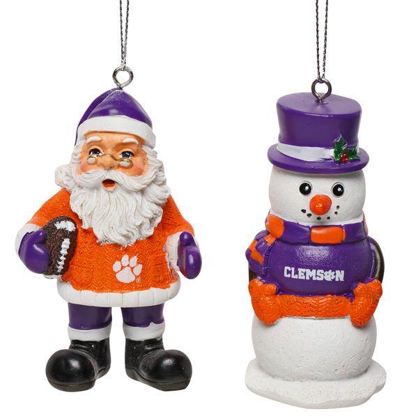 Clemson Christmas Tree: Clemson Tigers Saint Nick And Snowman 2-Pack Ornament Set