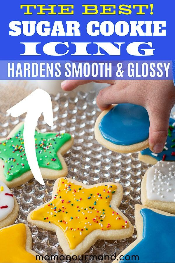 Learn how to make sugar cookie icing that hardens into a glossy, shiny glaze. This easy sugar cookie icing recipe only uses 4 simple ingredients and takes 5 minutes to make! #sugarcookieicing #easy #thathardens #fordecorating #withoutcornsyrup