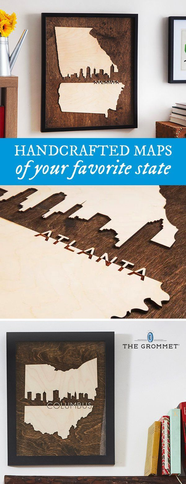 Info's : Pay tribute to your state with handcrafted state art pieces made from a mixture of new and reclaimed wood. Made in the USA by three sisters.