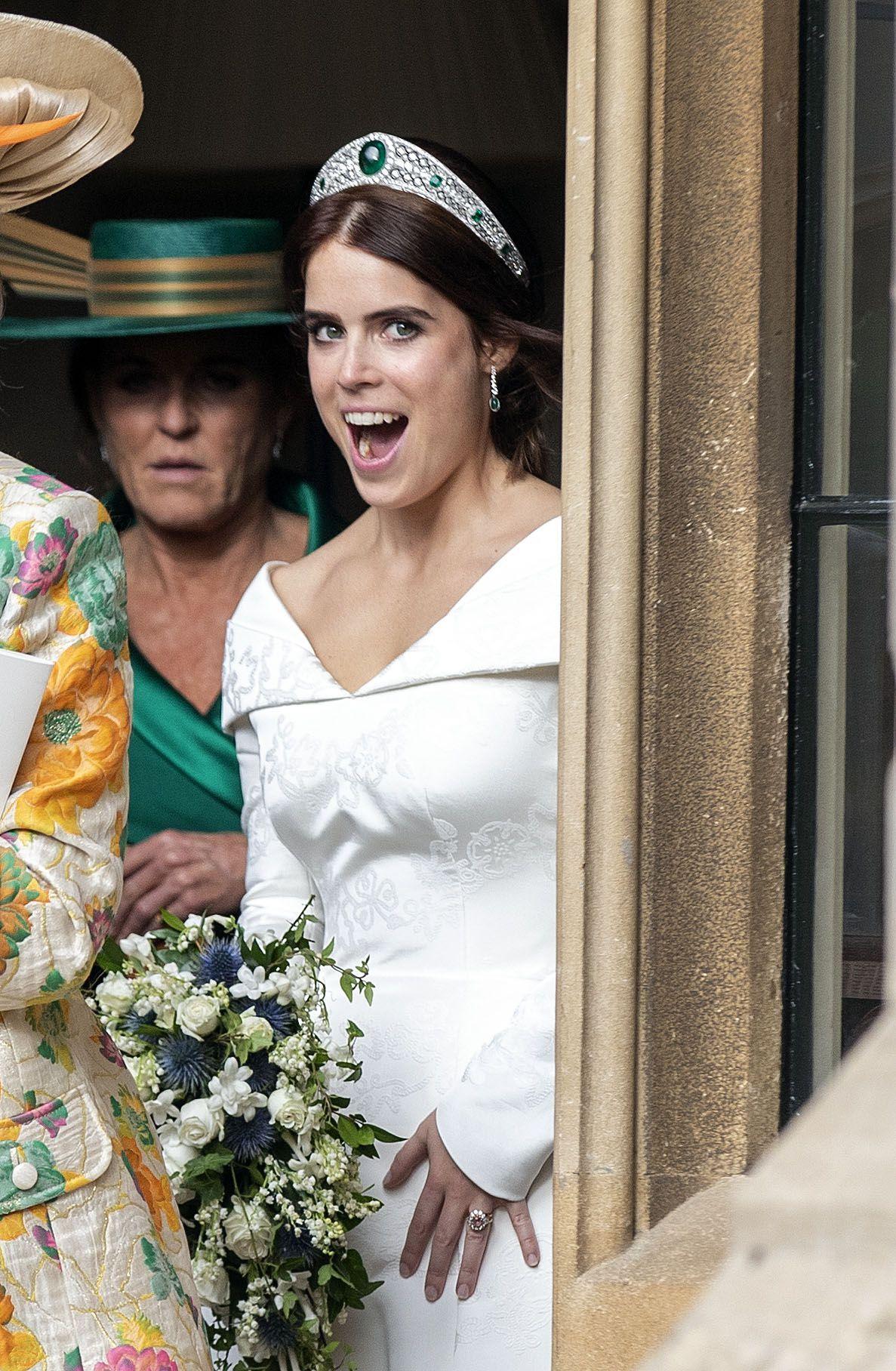Surprise Princess Eugenie Didn T Change Into A Second Dress For Her Reception Eugenie Wedding Royal Brides Princess Eugenie [ 1816 x 1187 Pixel ]