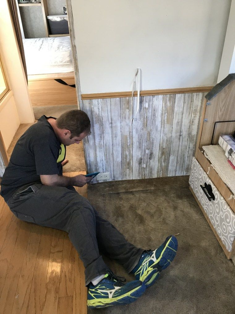 Ben Installing Peel And Stick Wallpaper Rv Makeover Peal And Stick Wallpaper Rv Wallpaper