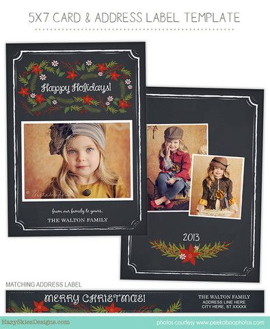 christmas card template for 7 50 digital images typography