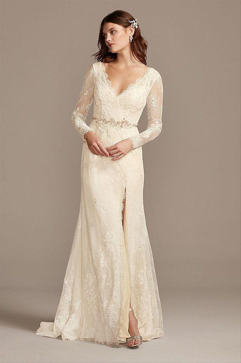 35 Courthouse Wedding Dresses For Your Civil Ceremony Petite Wedding Dress Davids Bridal Wedding Dresses Long Sleeve Wedding Dress Lace [ 1234 x 822 Pixel ]