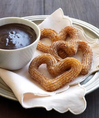 """Heart-Shaped Orange-Kissed Churros with """"Hot"""" Chocolate Sauce"""
