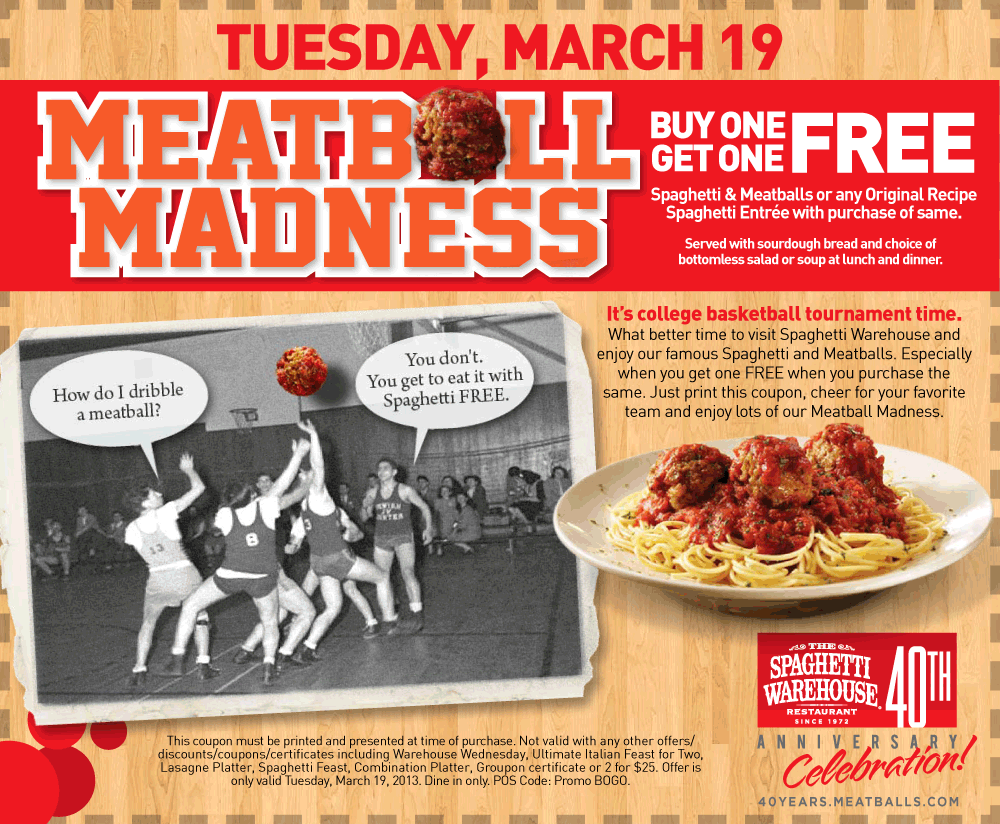 Second Meal Free Today At Spaghetti Warehouse Restaurants