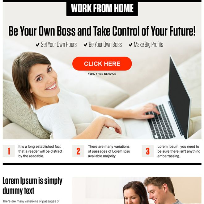 work from home pay per click landing page design template - pay template