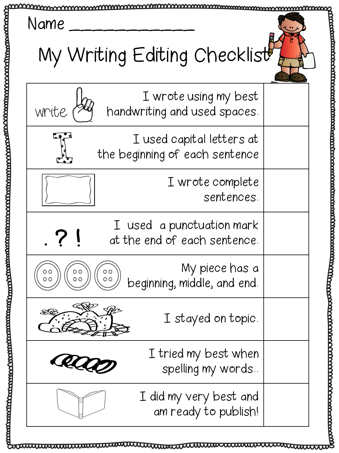 Writing Checklist For Students 1st Grade