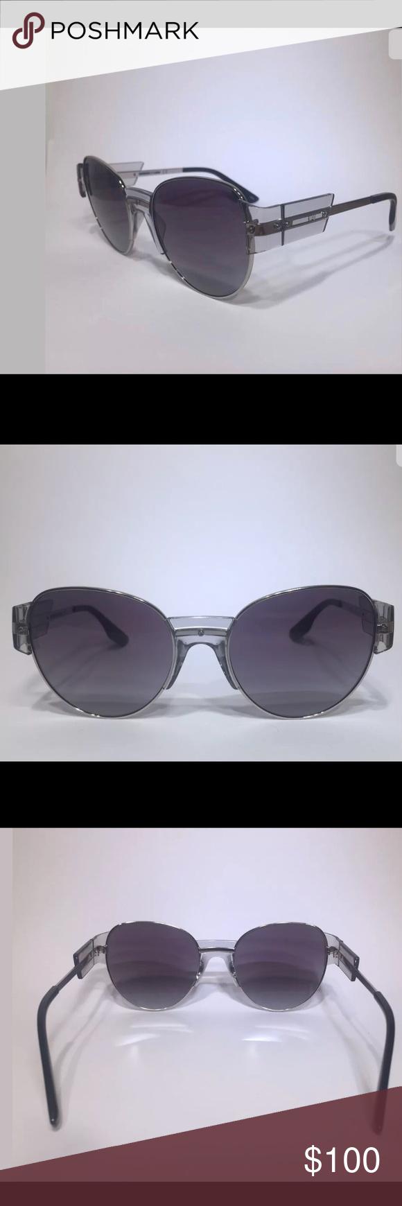 91f05c890a MCQ Alexander McQueen MQ0001S Clear Gray Aviator MCQ Alexander McQueen  MQ0001S Womens Clear Gray Aviator Sunglasses