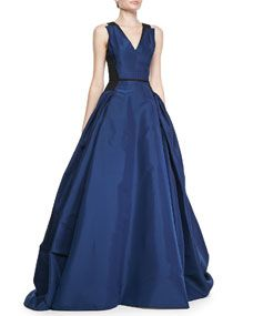 Colorblock Full A-Line Gown, Ultramarine