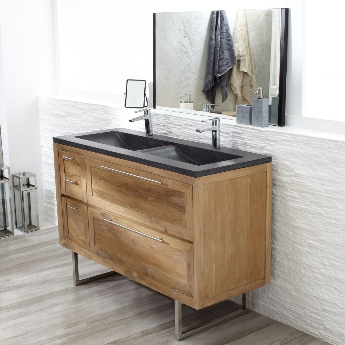 Meuble avec vasque en Teck 130 Wave | Vasque, Teck et Meubles