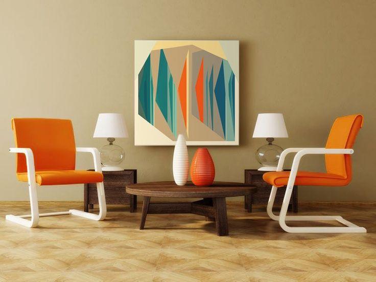 Mid Century Modern Wall Art mid century, modern art, canvas print - geometric art, wall art