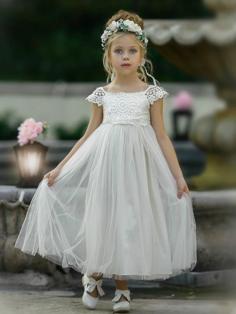 Emory Flower Girl Ivory Dress in 2020 | Wedding flower ...  Ivory Lace Vintage Flower Girl Dress