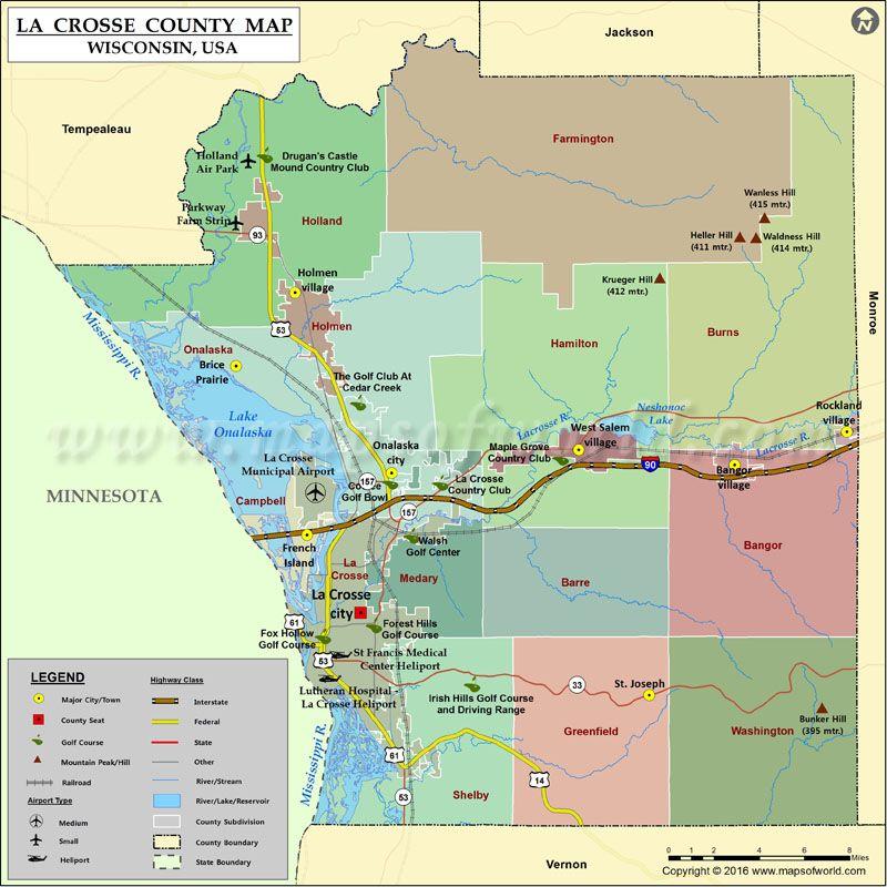 La Crosse County Map Wisconsin County Map La Crosse Wisconsin