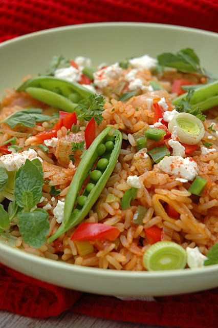 Spicy Rice with Snap Peas, Feta and Mint