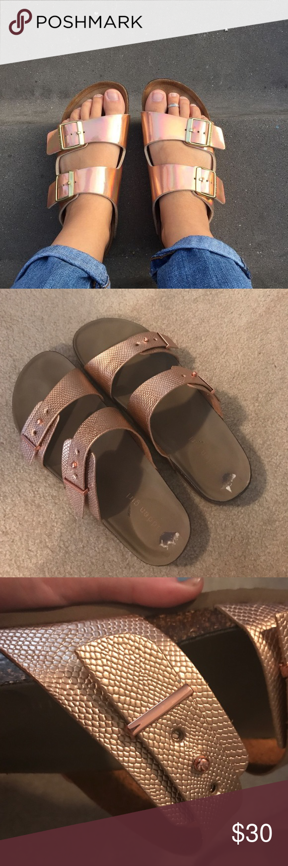 9e0be3eefb8a Rose Gold Steve Madden birkenstocks Perfect condition! Only worn once!  Great for adding just the right amount of metallic to an outfit! Steve  Madden Shoes ...