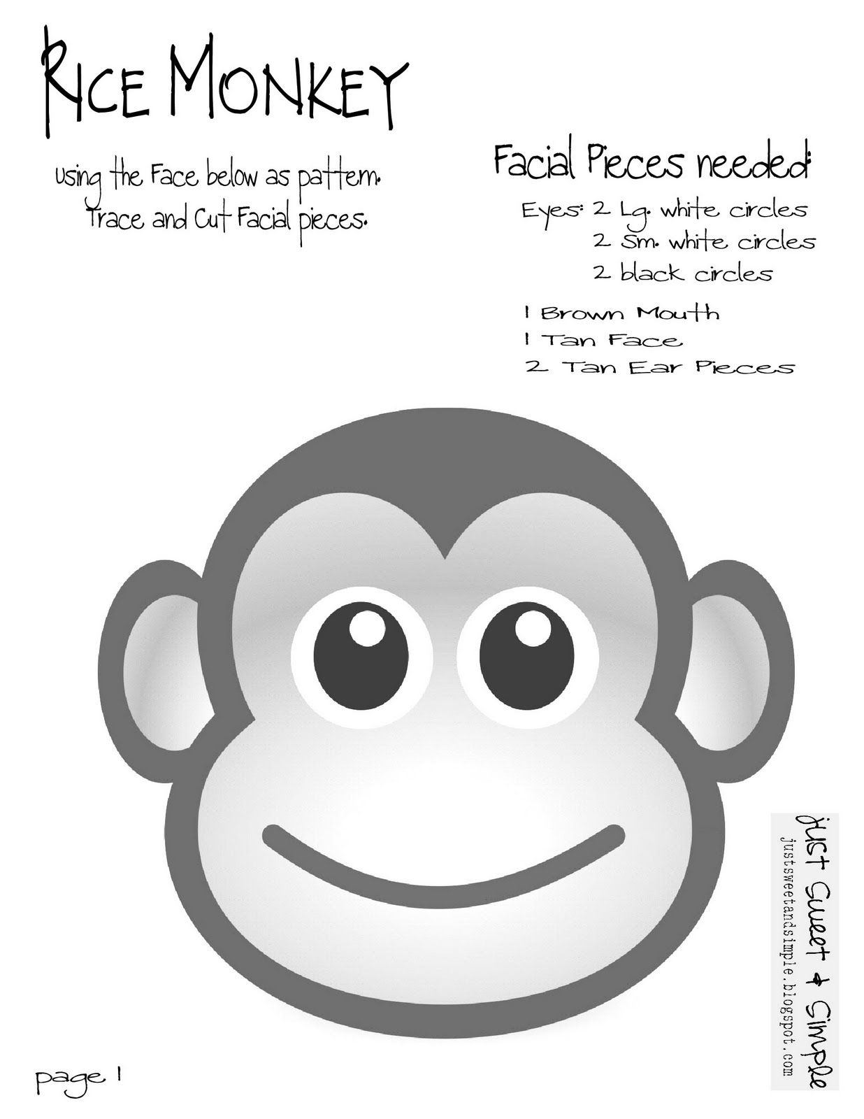 Printable Monkey Crafts | Free Template Printable & Download found ...