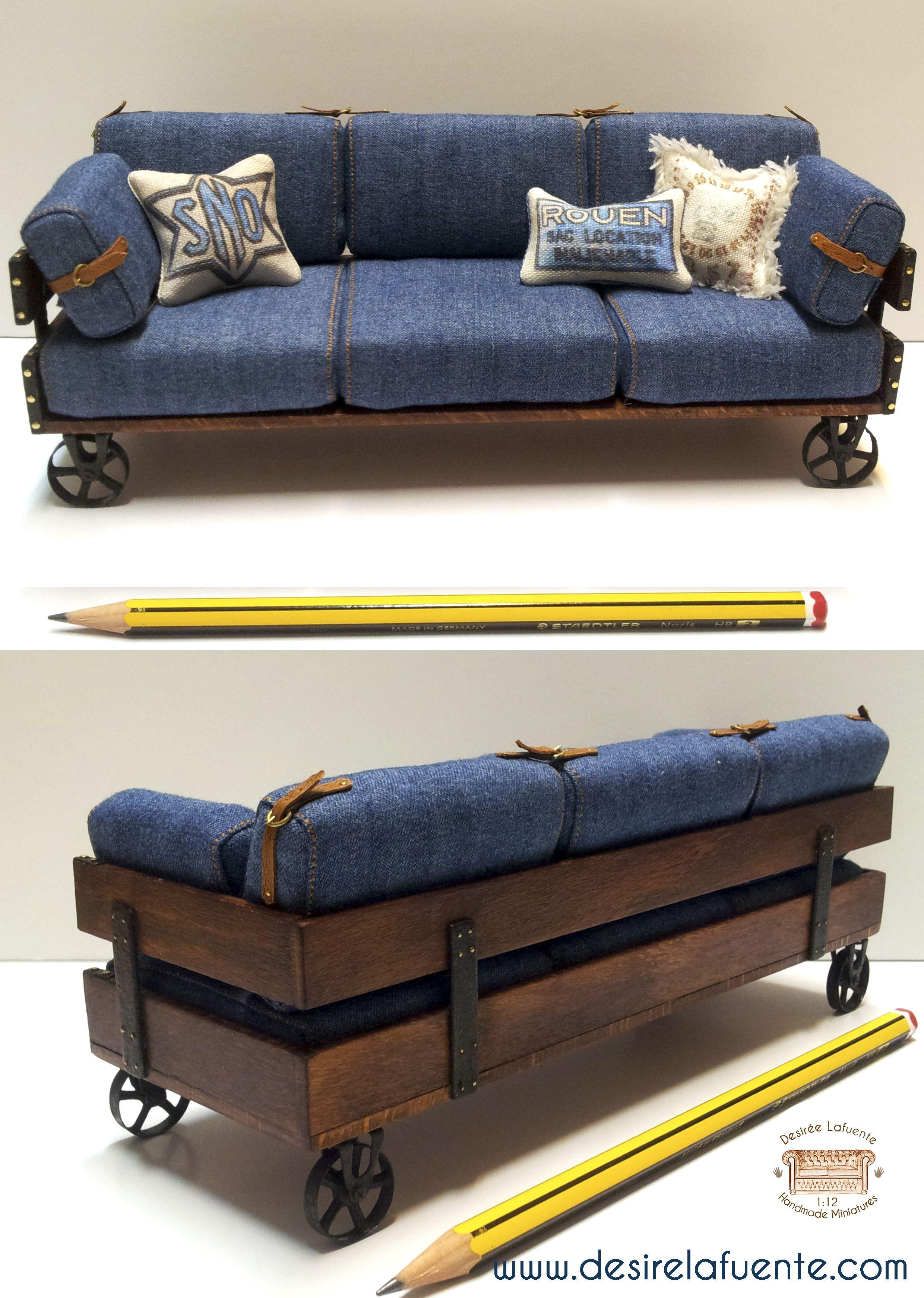 1:12 scale sofa. MATERIALES: Madera de Haya - Tejido Jeans - Metal ...