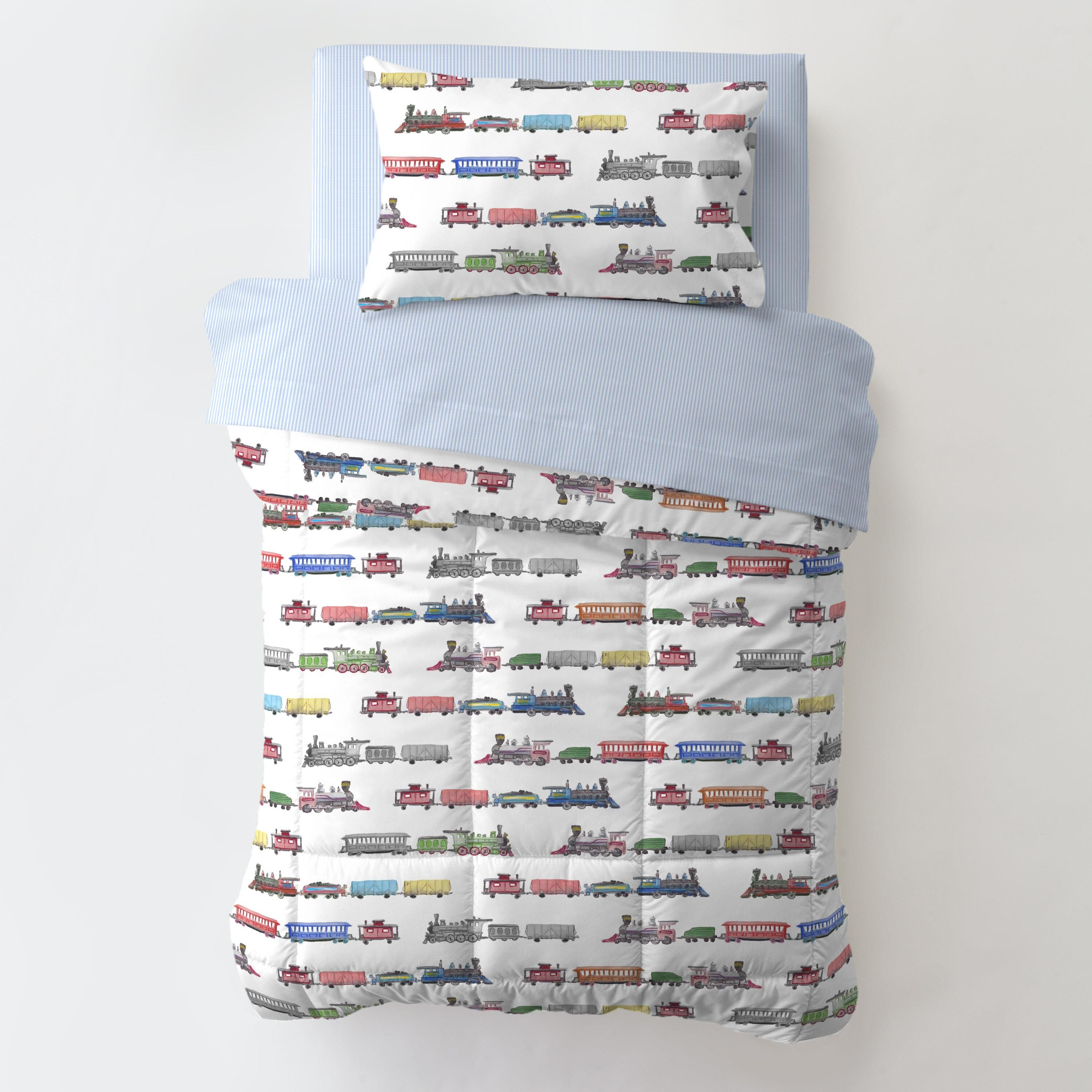 Red And Blue Trains Toddler Bedding In