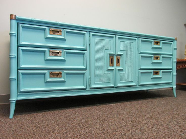 Aqua Painted Vintage Faux Bamboo Triple Dresser By Stanley ...