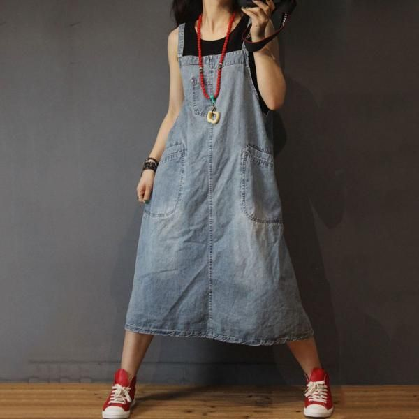 Big Pockets Loose Denim Dress Womans Jean A-Line Dress in Light Blue One Size