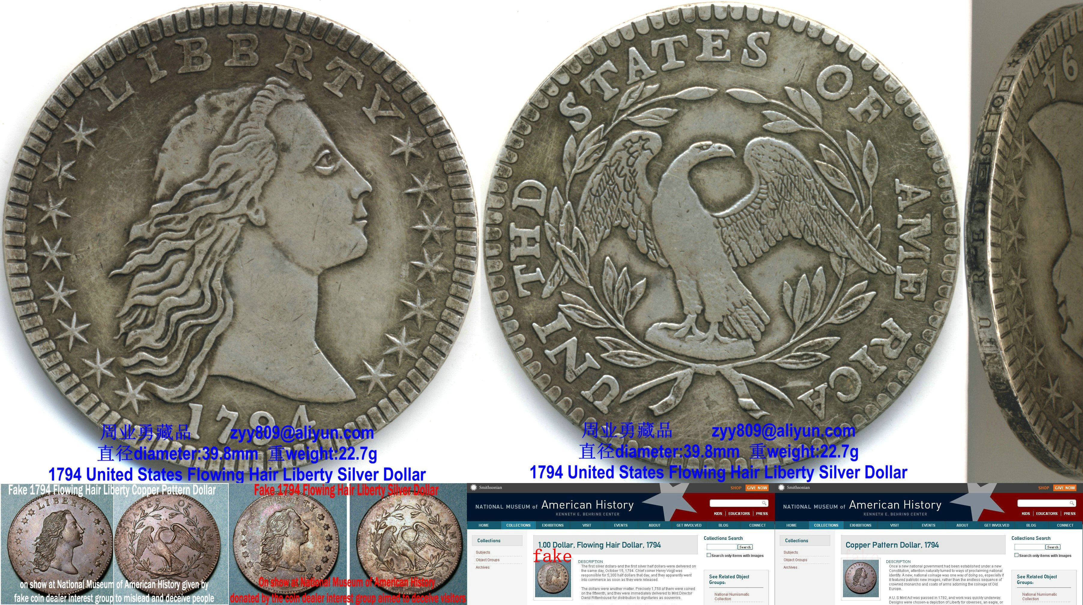 Genuine 1794 United States Flowing Hair Liberty Silver Dollar Compared With Fake Coins From Smithson S National Museum O Silver Dollar Coin Silver Dollar Coins