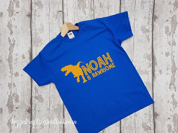 c533dc2b0 Personalised Dinosaur T-Shirt Top Any Name age 2-13 Party T-Shirt Birthday  Present Toddlers Tshirt Wedding Pageboy Twins