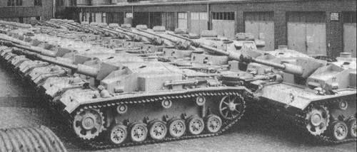 Stug III,s & Panzer III,s at the factory.