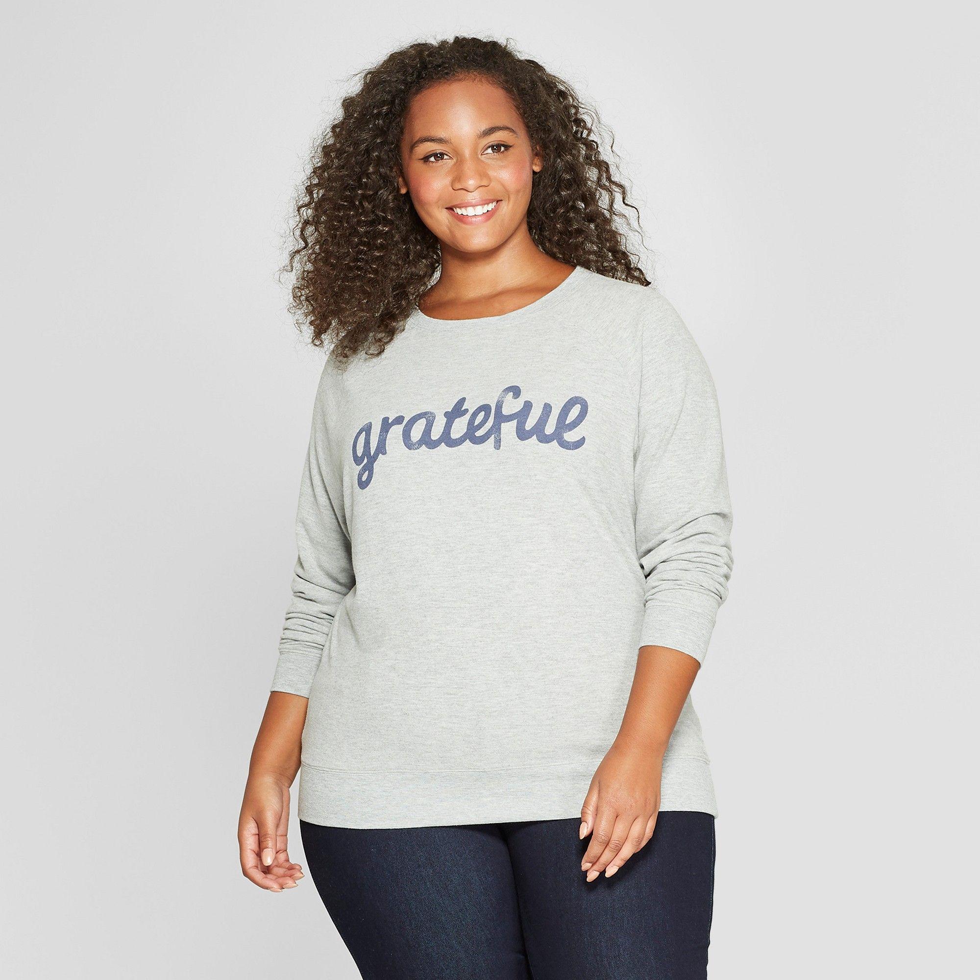 03869e7257790 Women s Plus Size Grateful Graphic Sweatshirt - Grayson Threads (Juniors )  Heather ...