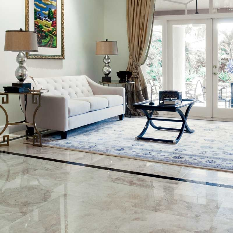 Diana Royal 1 2 Polished Marble Tiles On This Living Room Floor