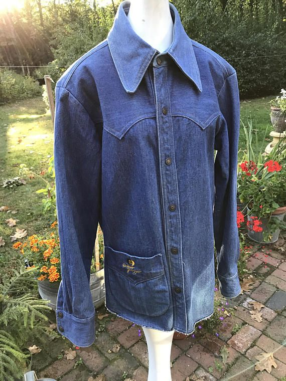 70's Vintage Jean Jacket Lee Jean Jacket L Tapered Back Heavy Duty Snap Closures Work Wear Boho Hippie Xrbdv