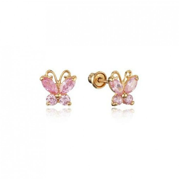 Baby and Children\'s Earrings: 14k Gold Pink CZ Butterflies with ...
